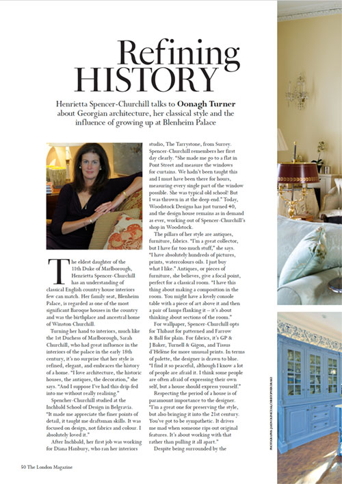 Henrietta Spencer-Churchill talks to Oonagh Turner about Georgian architecture, her classical style and the influence of growing up at Blenheim Palace